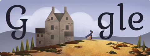 شعار الجوجل يحتفل بذكرى ميلاد الكاتبة إلانجليزية شارلوت برونتي الاثنين 21-4-2014
